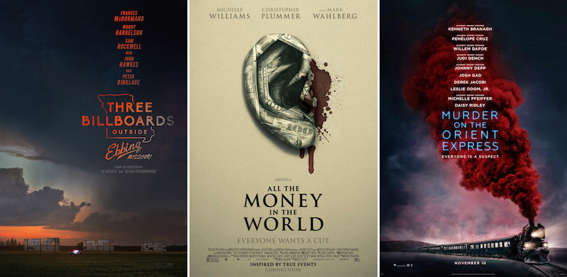 (Bardem); The Shape Of Water; Three Billboards Outside Ebbing, Missouri;  All The Money In The World; Murder On The Orient Express; Guardians Of The  Galaxy, ...